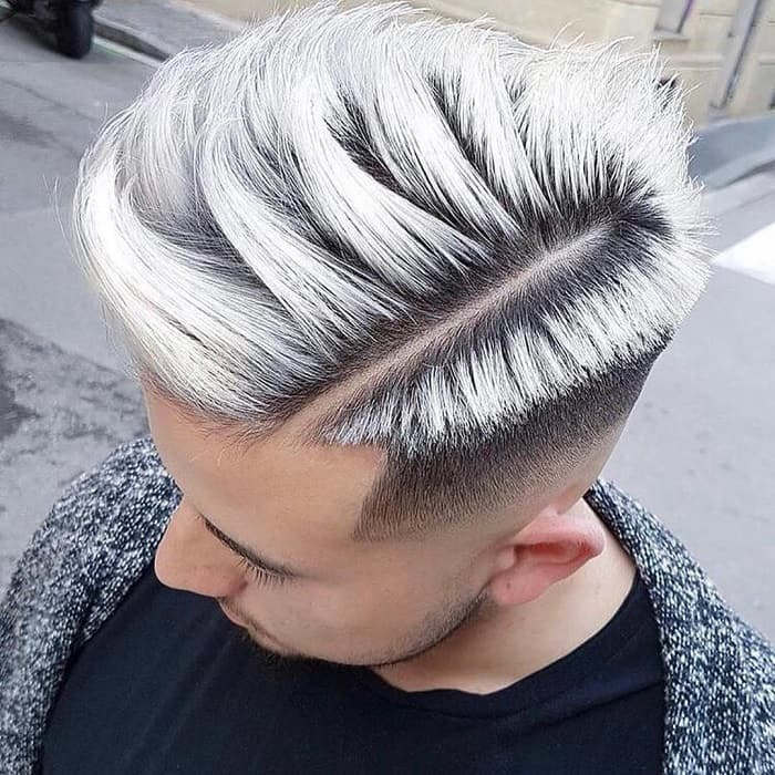 silver blow out haircut for men
