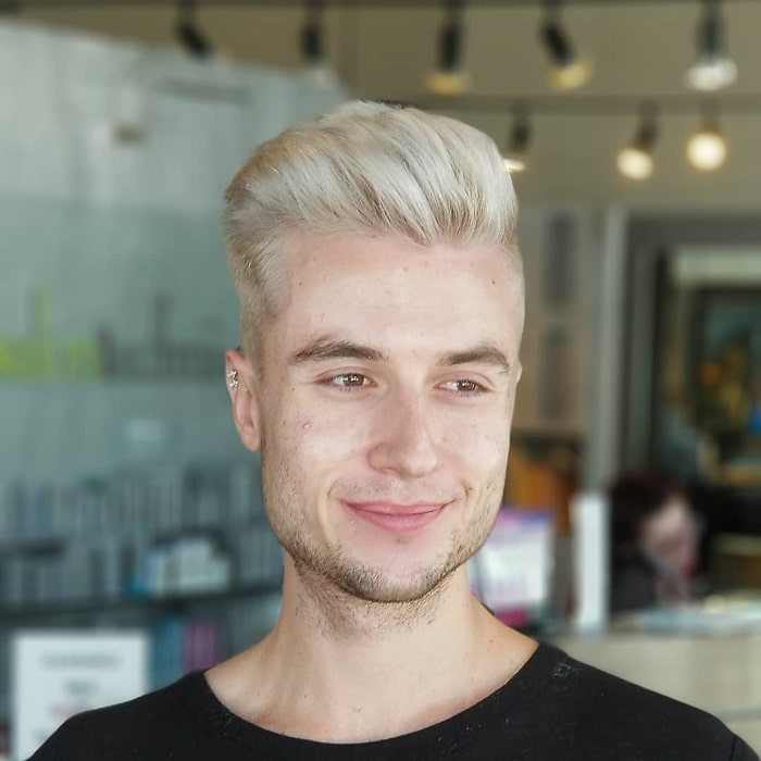 blonde blow out haircut for men