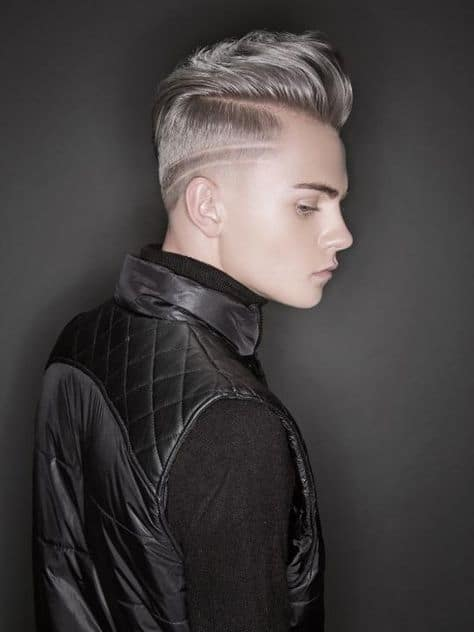 side shaved head design with lines