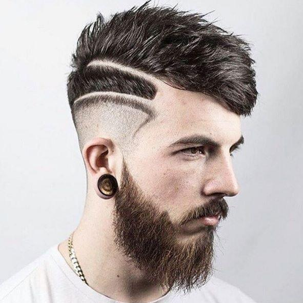 Side Shaved Design with Spiky Hair