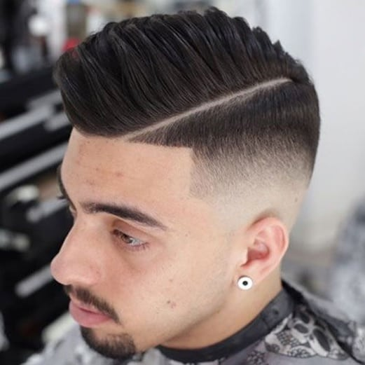 high top fade with a part