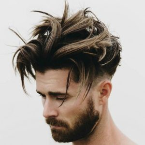 long messy quiff with undercuts.