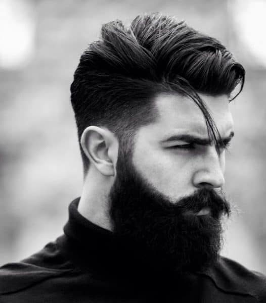 Fade Haircut with Bushy Beard